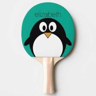 cute cartoon penguin emerald and black Ping-Pong paddle