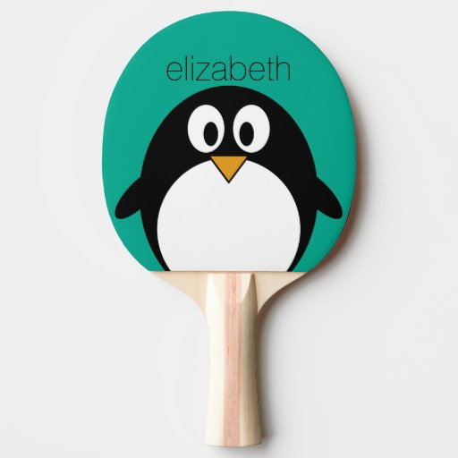 cute cartoon penguin emerald and black Ping-Pong paddle
