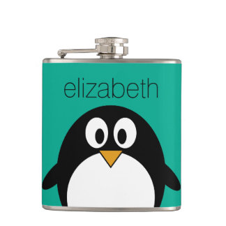 cute cartoon penguin emerald and black hip flask
