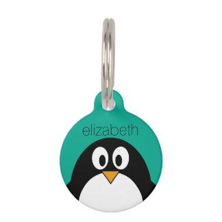 cute cartoon penguin emerald and black pet ID tag
