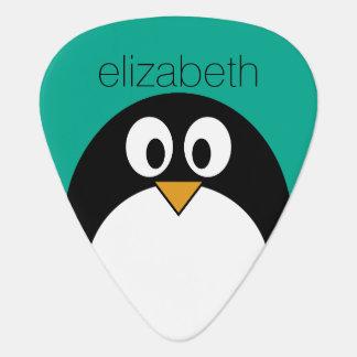 cute cartoon penguin emerald and black plectrum