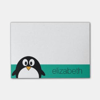 cute cartoon penguin emerald and black post-it® notes