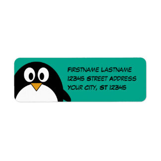 cute cartoon penguin emerald and black return address label