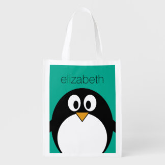 cute cartoon penguin emerald and black reusable grocery bag