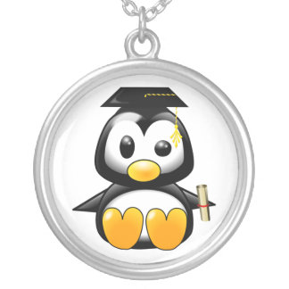 Cute Cartoon Penguin Graduate with Mortar Board Silver Plated Necklace