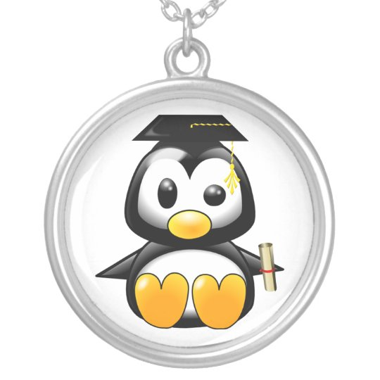 Cute Cartoon Penguin Graduate with Mortar Board Silver