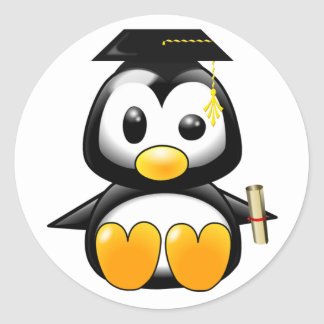 Cute Cartoon Penguin Graduate with Mortar Board Stickers