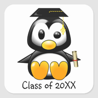 Cute Cartoon Penguin Graduate with Mortar Board Square Stickers