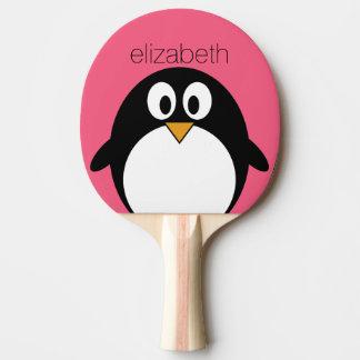 Cute Cartoon penguin Illustration Hot Pink Black