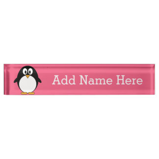 Cute Cartoon penguin Illustration Hot Pink Black Desk Nameplate