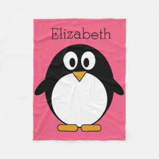 Cute Cartoon penguin Illustration Hot Pink Black Fleece Blanket
