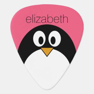 Cute Cartoon penguin Illustration Hot Pink Black Plectrum