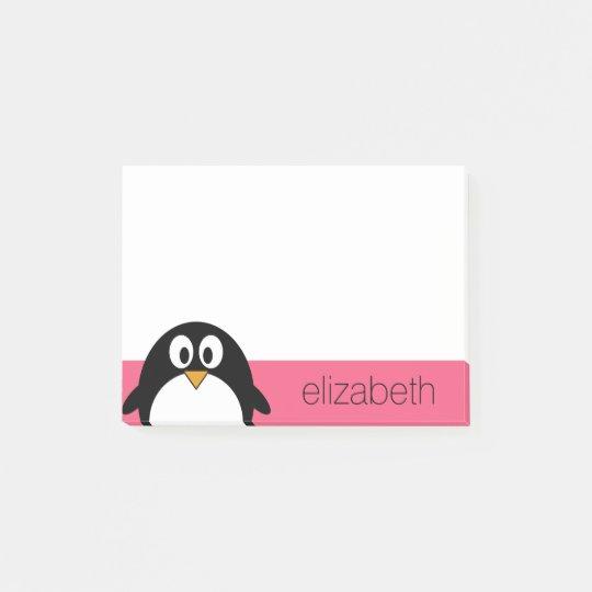Cute Cartoon penguin Illustration Hot Pink Black Post-it