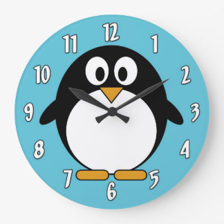 Cute Cartoon Penguin Large Clock