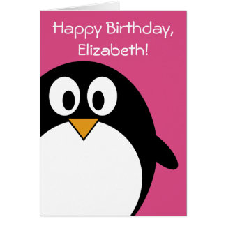 cute cartoon penguin pink and black greeting card