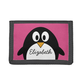 cute cartoon penguin pink and black tri-fold wallet