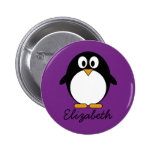 cute cartoon penguin purple 6 cm round badge
