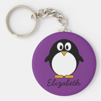 cute cartoon penguin purple basic round button key ring