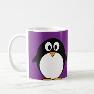 cute cartoon penguin purple basic white mug