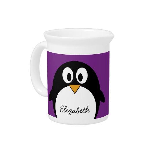 cute cartoon penguin purple beverage pitchers
