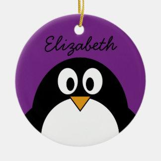 cute cartoon penguin purple christmas ornament