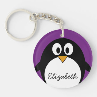 cute cartoon penguin purple key ring