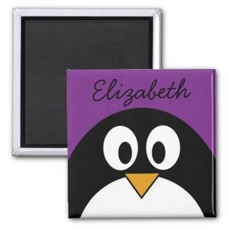 cute cartoon penguin purple magnet
