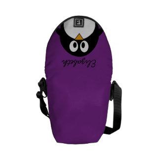 cute cartoon penguin purple messenger bag