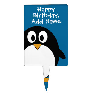 cute cartoon penguin with blue background cake topper