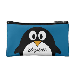 cute cartoon penguin with blue background cosmetics bags