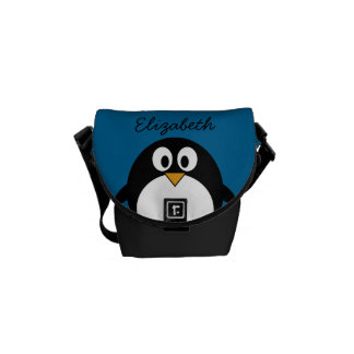 cute cartoon penguin with blue background courier bags