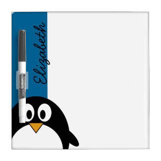 cute cartoon penguin with blue background dry erase board