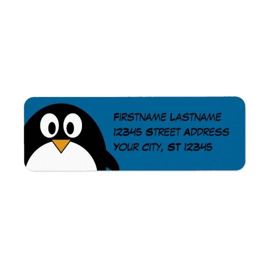 cute cartoon penguin with blue background return address label