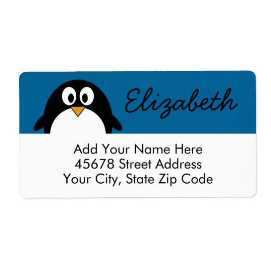 cute cartoon penguin with blue background shipping label