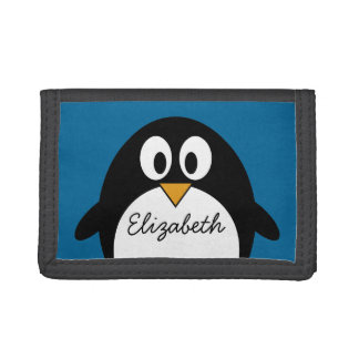 cute cartoon penguin with blue background trifold wallet