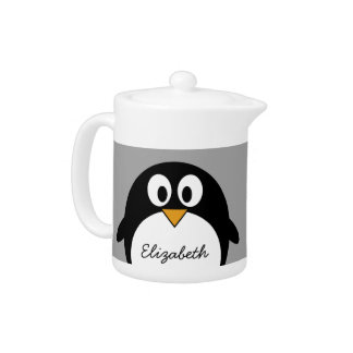 Cute cartoon penguin with gray background