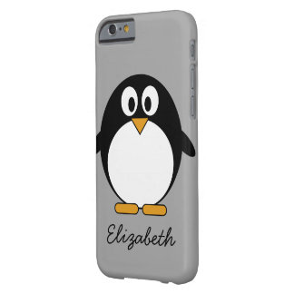 Cute cartoon penguin with gray background barely there iPhone 6 case