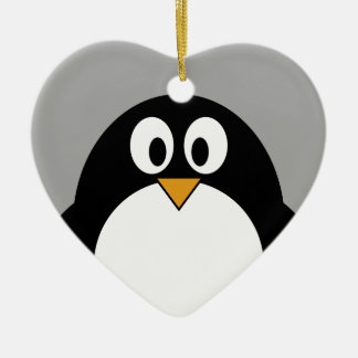 Cute cartoon penguin with gray background christmas ornament