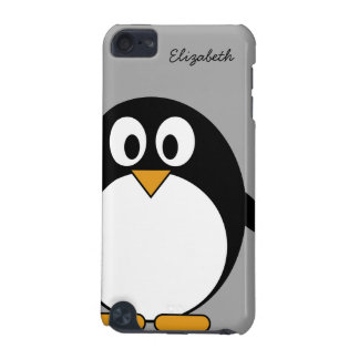 Cute cartoon penguin with gray background iPod touch (5th generation) cases