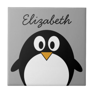 Cute cartoon penguin with gray background tile