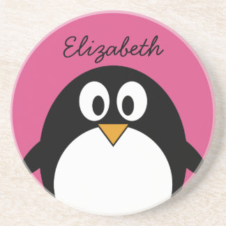 cute cartoon penguin with pink background coaster