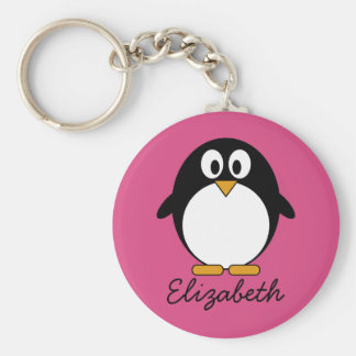 cute cartoon penguin with pink background basic round button key ring