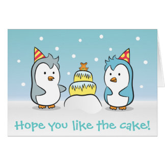 Cute Cartoon - Penguins Birthday Celebration Card