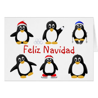 Cute Cartoon Penguins Spanish Christmas Card