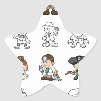 Cute cartoon people set star stickers