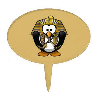 Cute Cartoon Pharoah Penguin with Gold Background Cake Topper