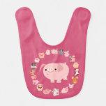 Cute Cartoon Pig Mandala Baby Bib