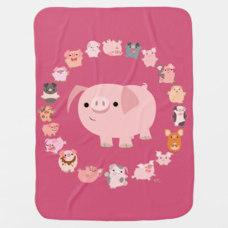 Cute Cartoon Pig Mandala Baby Blanket