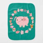 Cute Cartoon Pig Mandala Burp Cloth
