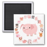 Cute Cartoon Pig Mandala Magnet
